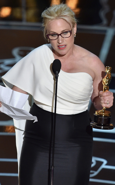 Patricia Arquette winning Oscar and asking for wage equality